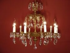 BRASS CRYSTAL CHANDELIER  2 CROWNS VINTAGE LAMP OLD CLASSIC 10 LIGHT USED LUSTRE