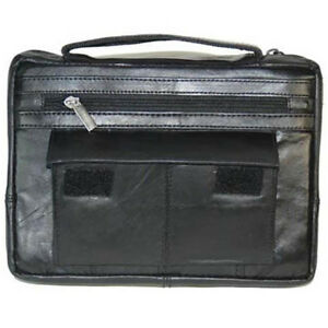 Black Genuine Leather Bible Organizer Book Cover Large Carrying Bag Zip Case