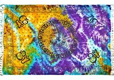 "SEVEN 7 CHAKRAS OM SYMBOL TIE DYE SCARF SHAWL THROW WRAP SCARVE YOGA 42""X68"" IN"