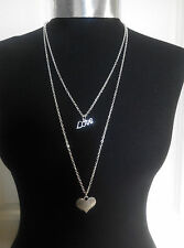 """Charm Layered Necklace Silver Tone 30"""" Chain A """" Love """" Word with Love Heart"""