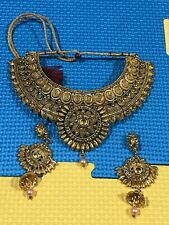 Indian Vintage Antique Jwellery Necklace And Earring With A Dull Golden Colour