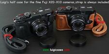 *LUIGI CASE TO FUJI FINEPIX X20-X10,+12mm STRAP,NATURAL AGED BROWN,LOWERED,ENDED