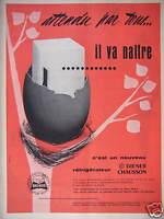 PUBLICITÉ 1958 DIENER CHAUSSON RÉFRIGÉRATEUR ATTENDU PAR TOUS IL VA NAÎTRE