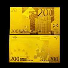 200 € EUROPEAN TWO HUNDRED EUROS 2001 BANKNOTE GOLD 24K