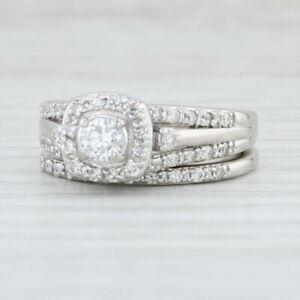 0.83ctw Diamond Halo Engagement Ring Wedding Band 950 Palladium Size 4.5