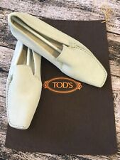 Tod's light gray driving loafers suede women's 8.5 New