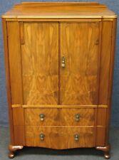 1930s Figured Walnut 2 Drawer Tallboy Or Bedroom Cabinet