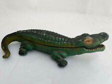 Vintage Green Linton CROCODILE Figurine statue CIGARETTE MATCHES Ashtray Holder