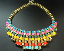 RAINBOW INSPIRED STATEMENT NECKLACE MULTIPLE GOLD STRANDS VIBRANT RIBBONS(CL14)