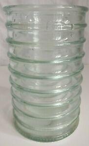 VINTAGE RETRO LA MEDITERRANEA HAND MADE CYLINDER CLEAR RECYCLED GLASS VASE