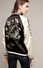NWT Anthropologie black pink Satin Embroidered Bird Reversible Zip Jacket M