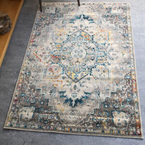 Grey Medallion Rug Distressed Traditional Living Room Rugs Soft Bedroom Area Rug