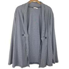 Ulla Popken Cardigan Womens 12/14 Relaxed Fit Navy White Striped Open Front