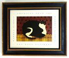 "Vintage 1993 Warren Kimble American Folk Art Cat 12.5"" x 10.5"" Original Frame"
