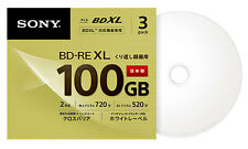 100GB Sony Blu Ray BD-RE BDXL 3D Bluray Triple Layer Printable Discs 1-2x Qty.3