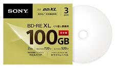 100GB Sony Blu Ray BD-RE BDXL 3D Bluray Triple Layer Printable Discs 1-2x Qty.3