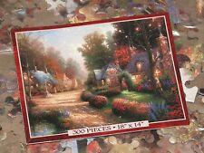 "Cobblestone Lane - Thomas Kinkade Art - 300 Pc Puzzle 18"" x 14"" - New Sealed Bag"