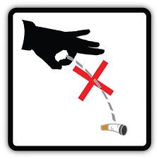 "Do Not Throw Cigarette Butts Prohibit Car Bumper Sticker Decal 5"" x 5"""