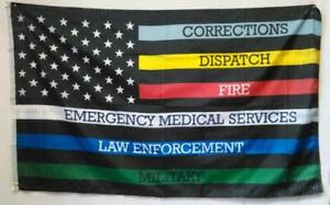 3x5FT Salute Thin Multi Line Flag Military Police Fire Corrections Dispatch EMS