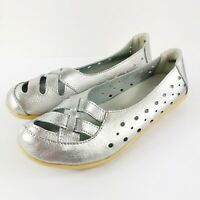 FASHION SHOES Women's Slip On Flats Perforated Leather Size 9 40
