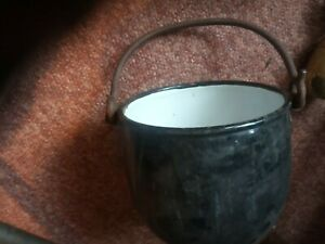 Antique Cast Iron Black Enamel Gypsy Fireplace Cooking Pot hanging  Pan small