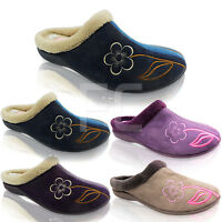 NEW WOMENS LADIES HARD SOLE COMFORTALE SLIP ON MULE SLIPPERS SHOES SIZE SOFT