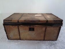 Antique Greeley & Morrill Trunk Wood Metal Deerskin Previous To 1842 Collector