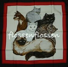 ☛COLLECTOR Foulard CARRE HERMES LES CHATS ROUGE NOIR NEW SCARF CATS☚