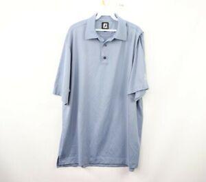 FootJoy Mens XL Short Sleeve Casual Golfing Golf Polo Shirt Light Blue Polyester