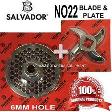 Salvador No22, 6mm Mincer Grinding Plate and Mincer blade Knife. 100% Genuine.