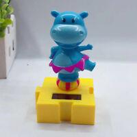 BE_ GT- BG_ JT_ Solar Power Swinging Cute Cartoon Hippo Car Dashboard Ornament H