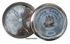 "Handmade Antique Solid Brass Compass Nautical Stanley London Poem Compass 3""."