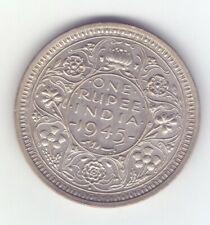 British India 1945 B LARGE 5 one rupee silver coin King George good grade 10 .