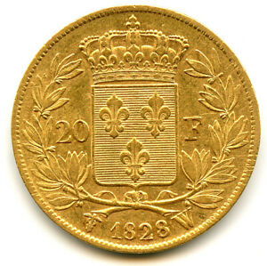 Charles X (1824-1830) 20 Francs Or 1828 W Lille