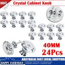 24Pcs 40mm Diamond Shape Crystal Glass Door Cupboard Drawer Handle Pull Knob AU