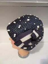 Antique Ladies Navy Cloche Woven Hat with White Bead Trim VERY CHIC!