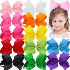 BIG 8 Inches Hair Bows For Girls Grosgrain Boutique Hair Bow Clips For Te... New