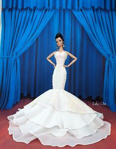 Eaki White Sequin Evening Dress Outfit Gown Silkstone Barbie Fashion Royalty FR