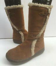 Rocketdog Suede 4 Leather Boots 37 Fleece Lined Zip Brown Low Winter Mid Ladies