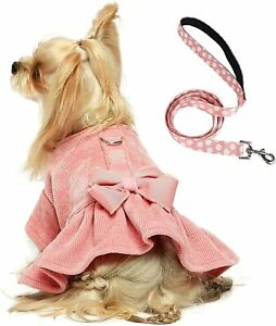 Fitwarm Dog Harness Dress with Leash Set Comfy Puppy Girl Skirt Doggy One-Piece