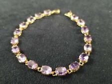 14k Gold Bracelet with Oval Cut Amethyst Stones