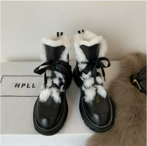Women Real Leather Thick Sole Ankle Boots Faux Fur Snow Boots Winter Shoes Black