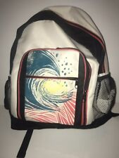 Roxy Backpack School Book Bag Black Ivory Multi Color Pockets Mesh Unisex