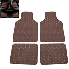 4Pcs Coffee PU Leather Car Front Rear Styling Waterproof Floor Mats Carpet Kit