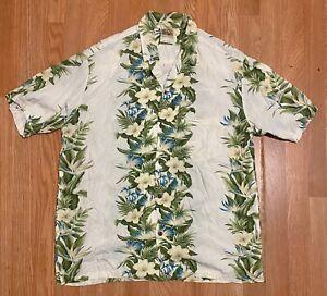 WINNIE FASHION Hawaiian Shirt Mens Size L Button Down Beige Lei Floral Cotton