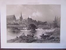BELLE GRAVURE 1867 BRETAGNE ILLE ET VILAINE REDON VUE RIVE GAUCHE VILAINE