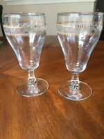 "2 Vintage Fostoria Needle Etched Crystal Wine Water Goblets 1930's  6 1/4""  RARE"