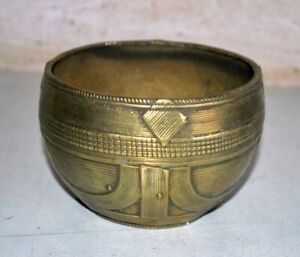 Antique Old Brass Hand Carved Dhokra Art Rice Bowl Beautiful Serving Bowl Rare