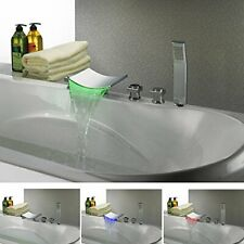 Deck Mounted Water Power LED Bathroom Sink Faucet (Chrome Finish)