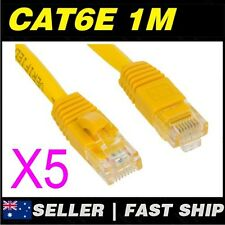 5x 1m 3.2ft Premium Cat6 Yellow Ethernet Network LAN Patch Cable Lead
